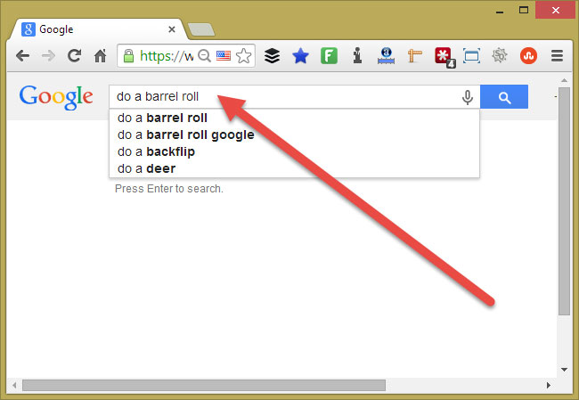 do a barrel roll google easter egg